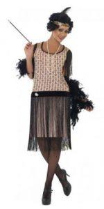 Model im 20er Jahre Kleid creme-schwarz im Flapper-Style