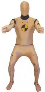 Mann im Crash Test Dummy Morphsuit