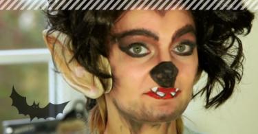 Unser Modell Kim fertig geschminkt als Werwolf