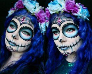 Tag der Toten make Up in Blautönen