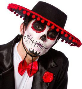 Mann mit Hut und Skelett Schminke