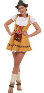 Braunhaarige Frau im gelben Dirndl Kostüm