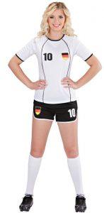 Blonde Frau in deutschem Fußball Outfit