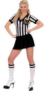 Frau im sexy Schiedsrichter Outfit