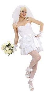 Blondine in kurzem Brautkleid Kostüm