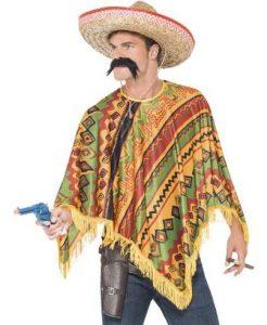 Mann mit buntem Poncho und Sombrero