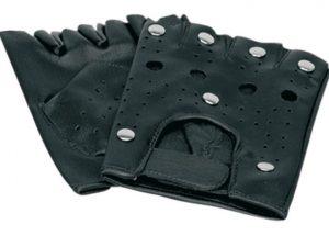 Schwarze fingerlose Handschuhe aus Leder