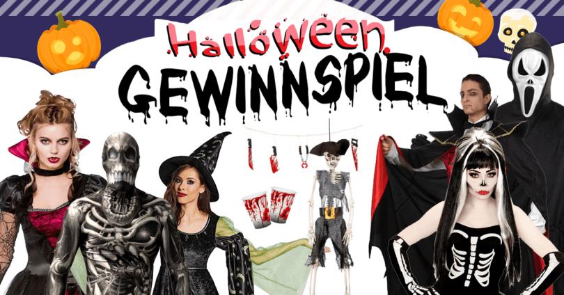 Grafik zum Halloween-Gewinnspiel mit Menschen in Kostümen