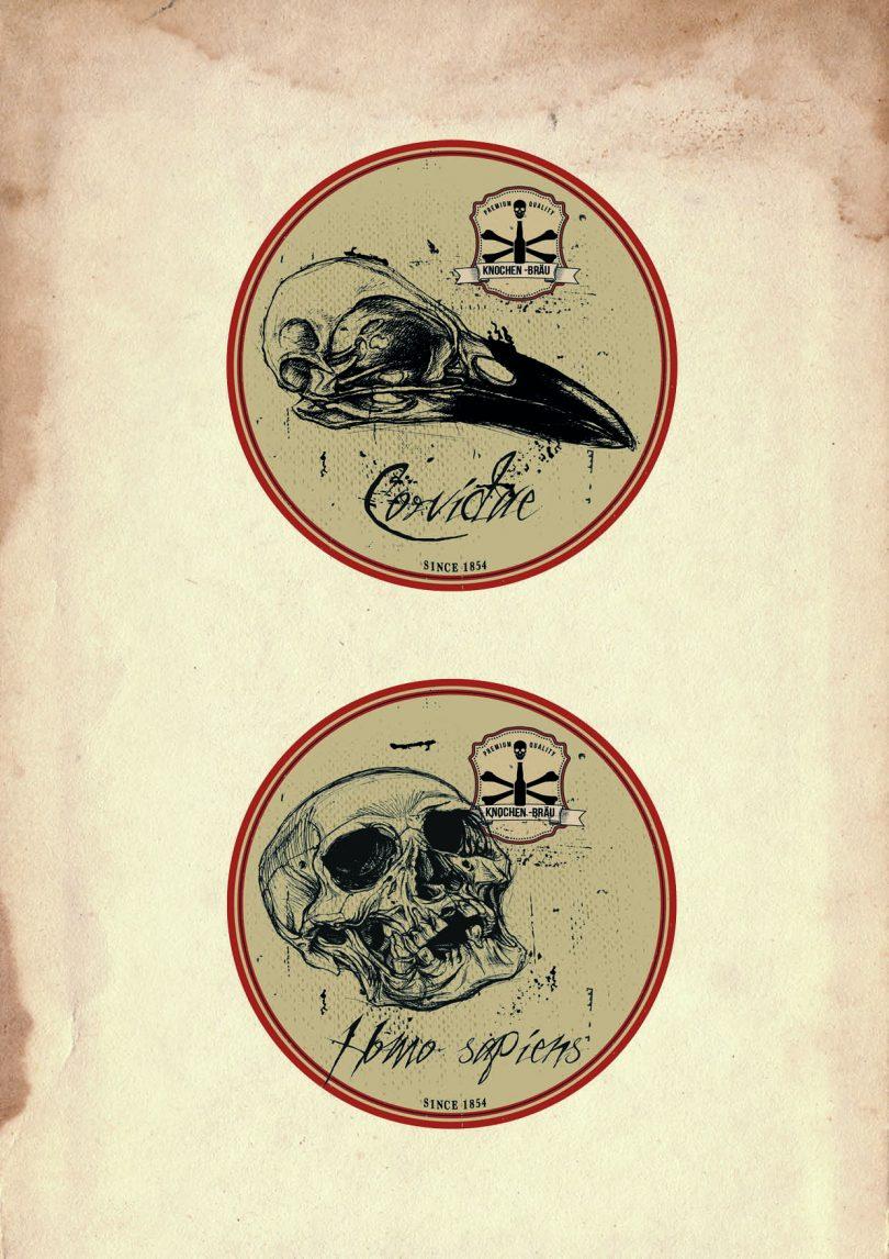 Bierdeckel mit Rabenschädel und Totenkopf Design