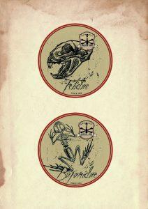 Bierdeckel mit Katzenschädel und Froschskelett Muster