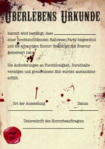 Spaß-Urkunde für Halloween Partys