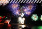 Silvester Feuerwerk über Wasser
