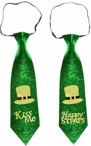 Zwei grüne Glitzerkrawatten mit Aufschrift