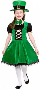 Grünes Leprechaun Mädchenkostüm mit schwarzer Bluse