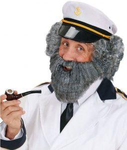 Vollbart mit Schnurrbart grau für Marine kostüme