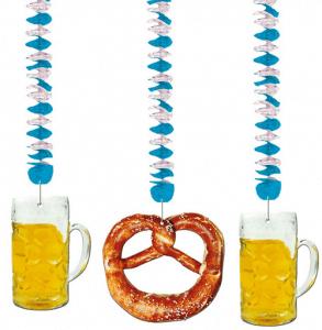 Hängedekoration in weiß-blau mit Brezeln und Bierkrügen