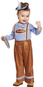 Kleinkind in balu-weiß-karietem Hemd und brauner Lederhose mit Hut