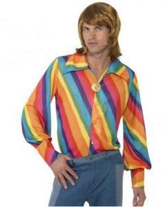 Regenbogen Kostüme - 70er Jahre Regenbogen Hemd