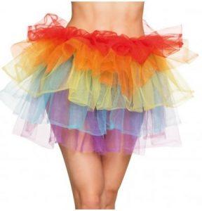 Rgenbogen Kostüme - Kurzer Regenbogen Tüllrock mehrlagig