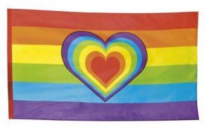 Regenbogen Kostüme - Regenbogen Flagge mit Herz 90x150cm