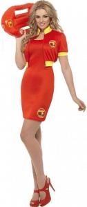 Blonde Frau in rotem Baywatch Kostüm mit Rettungsboje