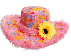 Pinker Fellhut mit Blumen