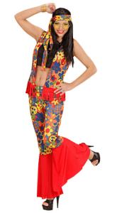Frau im Hippie Kostüm, bauchfrei mit Schlaghose