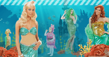 verschiedene Personen in Kostümen der Unterwasserwelt