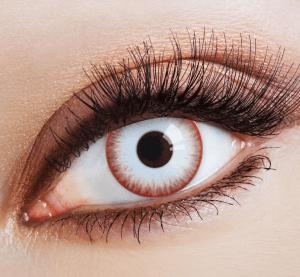 weiße Zombie Night Kontaktlinse mit rotem Rand