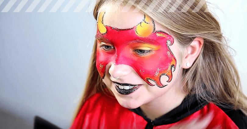 Kinderschminken Teufel fertiges Ergebnis