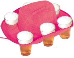 Pinkter Bierhut mit sechs Bierbechern