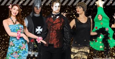 Verschiedene Kostüme zur Motto-Weihnachtsfeier