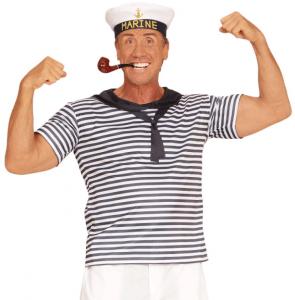 Mann im Marine Kostüm mit Pfeife