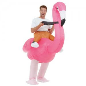 aufblasbares Flamingo Huckepack Kostüm