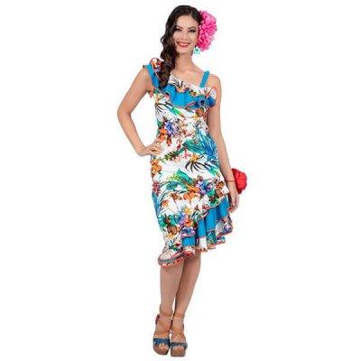 Hawaii Kleid Blau mit Blumen