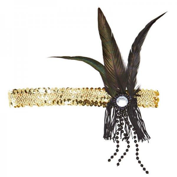 goldener Pailletten Kopfschmuck mit Federn