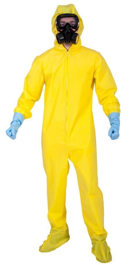 Mann im gelben Schutzanzug Kostüm